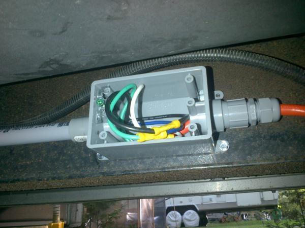 New brake wiring from pin box to PVC conduit start.