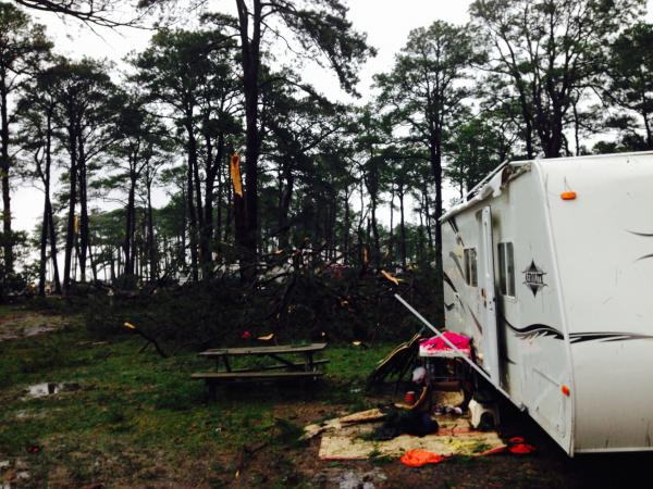The tree in the background landed where a camper was parked just the night before.