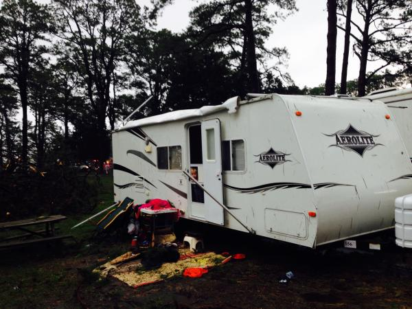 The aftermath (we have since repaired and loving our camper)