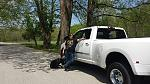 Conan, 2015 RAM 3500 6.7 Cummins DRW with my favorite person, Sam and my favorite dog, Bruce.  May 2015 Babler State Park, MO