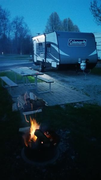 First trip out, first campfire of the year.  Cross Creek Campground Resort; 10 minutes from home, 10 minutes from Walmart or Meijer (the only thing we forgot were camp chairs!)