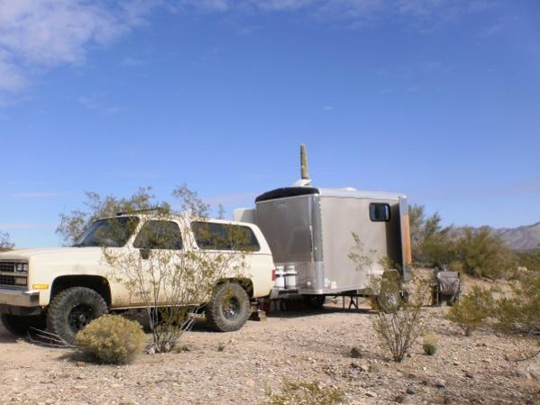 """My first TT - A custom built, off-road Cargo trailer with 24"""" ground clearance; the same as my old K5 Blazer. Camp set up for a prospecting trip near Congress, AZ."""
