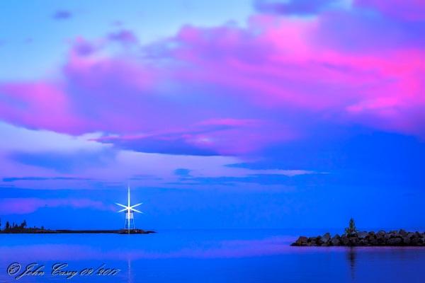 Grand Marais Harbor and Lighthouse from Grand Marais Campground, Grand Marais, MN